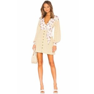 Free People Wonderland Mini Dress in Ivory Combo